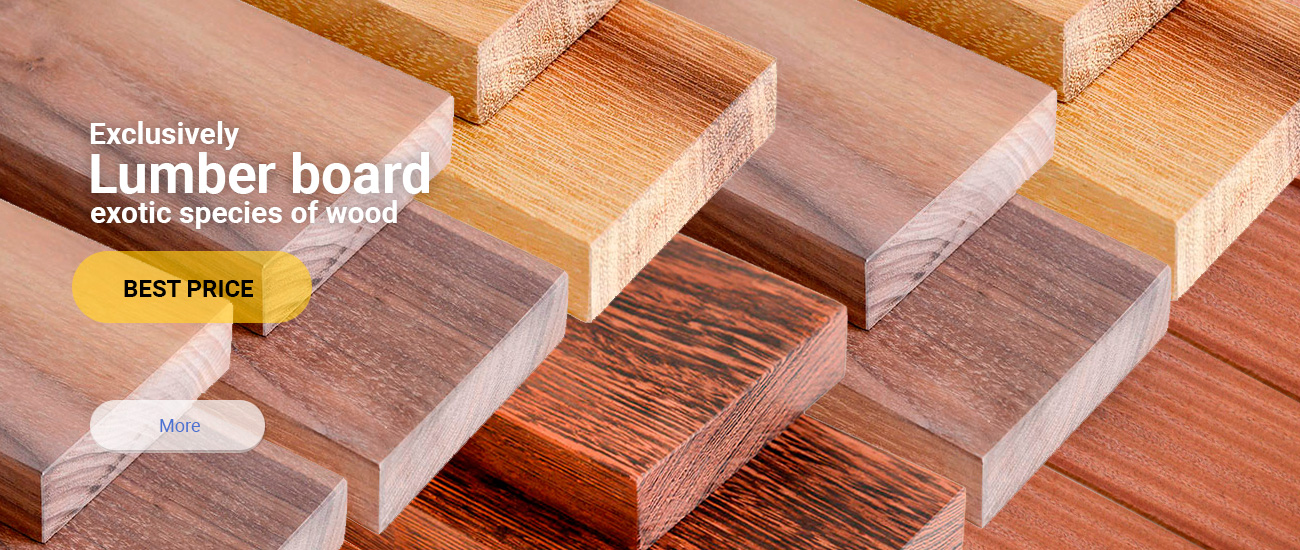 Lumber board of exotic wood species